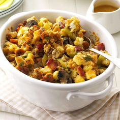 Bacon & Sausage Stuffing Recipe -This recipe was inspired by my mother's stuffing recipe. It smells like heaven while you're making it, and people can never seem to get enough. —Scott Rugh, Portland, Oregon