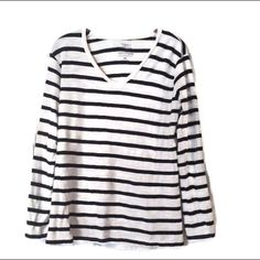 NEW Tee Top Black White Stripe XL NEW Tee Top Black White Stripe XL Long Sleeve V-Neck 100% Cotton NWOT by Cuffy's Cape Cod Outfitters Trades Cuffy's  Tops Tees - Long Sleeve