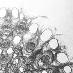 Uma pequena parte do buraco, projeto inacabado de 2012. Qualquer hora dessas termino está obra. _______  A small part of the hole, unfinished project of 2012. Any time such end is work.  #observo #life #live #illustration #2012 #process #pen #black #blackandwhite #sketch #sketchbook #sketching #draw #drawing #oldmasters #hole #desconexion #cndt #desenho #rascunho #distopic