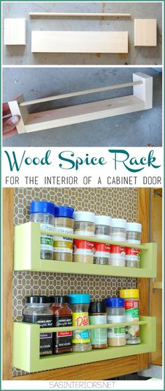 DIY Wood Spice Rack Holder for Inside the Kitchen Cabinets ~ make the vertical space on the interiors of the doors super useful. Wood Spice Rack, Diy Spice Rack, Spice Storage, Spice Organization, Craft Storage, Storage Rack, Storage Ideas, Organizing Ideas, Storage Shelves