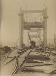 These images show Tower Bridge under construction in the They were saved from a skip many years ago by a neighbour of mine. The skip. Victorian London, Vintage London, Old London, Victorian Era, Bridge Construction, Under Construction, London History, British History, Old Pictures