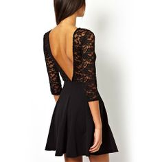 European Style Sexy Plung-V Back Cutout Lace Dress