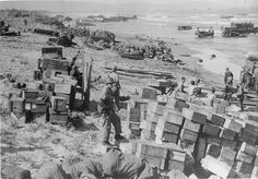 January 9, 1945. Lingayen Gulf during World War II. A view of the landing beaches and supply dumps, looking West.