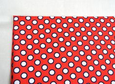 Bright red cotton fabric with white and black dots geometric print for children's dress or a suit Circle Fabric Round Elements by Klaptik on Etsy #fabric #klaptik #cotton #dots #polkadots #red