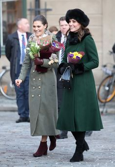 Crown Princess Victoria and Prince Daniel of Sweden escorted the Duke and Duchess of Cambridge from Stockholm Royal Palace to the Nobel Museum as the British continue their official 1-day tour of Sweden. Jan. 30, 2018