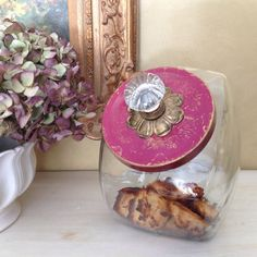 Pretty in  Pink & Gold Cookie Jar by by CountertopCouture on Etsy, $48.00