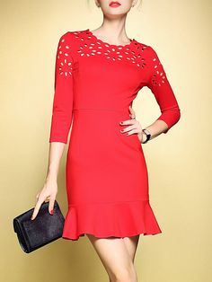 #AdoreWe #StyleWe LONYUASH Red Flounce 3/4 Sleeve Plain Pierced Mini Dress - AdoreWe.com