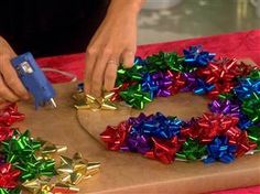 cute and easy DIY project, cut a cardboard ring and glue bows onto it. really cute and easy.