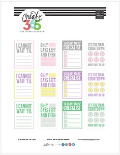 'COUNTDOWN' Free printables for The Happy Planner™   me & my Big ideas {available in pastel and primary colors}
