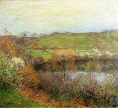 """""""Buds and Blossoms,"""" Willard Leroy Metcalf, 1907, oil on canvas, 26 x 29"""", private collection."""