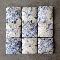 Wall Quilt with Peonies and Leaves