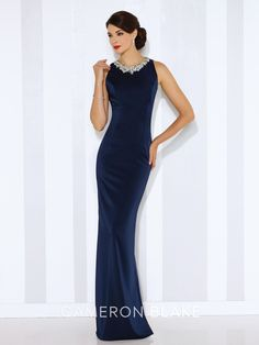 7b036553 116659 - Sleeveless novelty crepe sheath with front and back hand-beaded  jewel necklines,