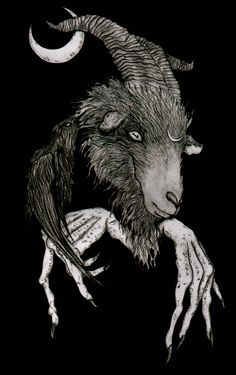 An illustration depicting Baphomet, a deity incorporated into occult and mystical traditions. Baphomet, Fantasy Kunst, Dark Fantasy Art, Arte Horror, Horror Art, Black Phillip, Satanic Art, Arte Obscura, Occult Art
