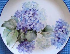 Fine Porcelain China Diane Japan Value China Painting, Ceramic Painting, Ceramic Art, Hydrangea Painting, Blue Hydrangea, Hydrangeas, Lilacs, Painted Plates, Fine Porcelain