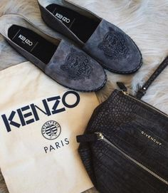 Shades of gray  (at Meatpacking District, Manhattan) Kenzo gray suede tiger espadrilles x Givenchy Pandora Mini  Follow me on Instagram @MissYanaCherie