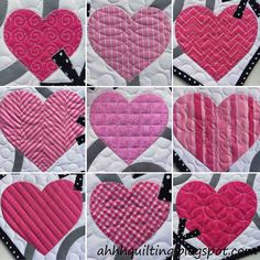 Various ways to quilt a heart at Ahhh...Quilting