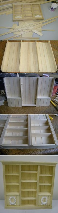 Cabinet made out of popsicle sticks! More #dollhouse