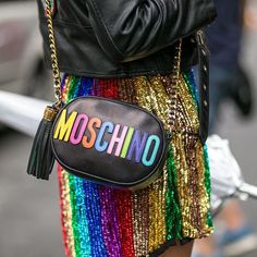 moschino multi color lettering bag, fashion accessories