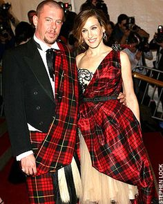 Alexander McQueen wore his McQueen Modern tartan kilt to accompany Sarah Jessica Parker to the Costume Institute Gala in New York.