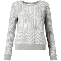 Miss Selfridge Grey Longsleeve Textured Sweat ($49) ❤ liked on Polyvore featuring tops, hoodies, sweatshirts, grey, sport top, gray top, grey top, slouchy tops and sports tops