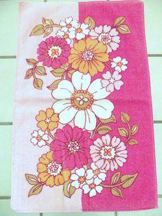 Vintage 60s 70s Pair Pink Floral Kitchen Bath Hand Guest Towels Velour | eBay