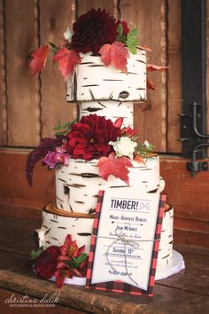 Okanagan, Kelowna, Lake Country, Vernon Lumberjack & Jill Plaid Wedding Invitation Design by Christina Dulik, Log Cake Design by Kaleena Cakes, Flowers by Blue Sage Farm, Location Summerhill Pyramid Winery.