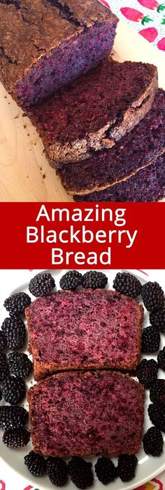 Easy Blackberry Bread Recipe With Fresh Blackberries This homemade blackberry bread is truly amazing! Made with fresh blackberries, this blackberry bread is so easy to make, so healthy and delicious! I just can't stop eating it! Breakfast Bread Recipes, Quick Bread Recipes, Savory Breakfast, Baking Recipes, Blackberry Recipes Breakfast, Healthy Blackberry Recipes, Vegan Recipes, Blackberry Desserts Easy, Loaf Bread Recipe