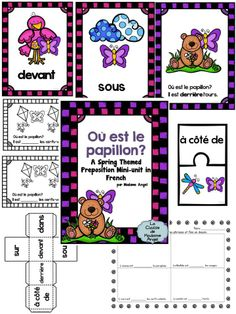 $ Spring Theme Preposition Mini-Unit in French!  Includes posters, an original story, puzzles and activities to help young students learn French prepositions. Core French, French Class, French Lessons, How To Speak French, Learn French, French Prepositions, Teaching French Immersion, French Teaching Resources, French Grammar