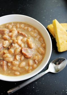 Creamy and delicious Great Northern beans with tender chunks of ham. Perfect for. Creamy and delicious Great Northern beans with tender chunks of ham. Perfect for a cool Fall evenin Beans In Crockpot, Crockpot Recipes, Cooking Recipes, Ham Bone Recipes, Crockpot Navy Bean Soup, Healthy Recipes, Hamburger Recipes, Keto Recipes, White Bean Recipes