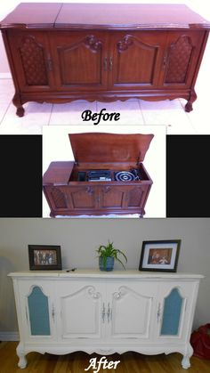 before and after Stereo cabinet redo. its not totally finished, but just about! Furniture Projects, Furniture Makeover, Diy Furniture, Diy Projects, Furniture Stores, Repurposed Furniture, Painted Furniture, Vintage Stereo Cabinet, Record Player Cabinet