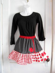 Handmade red white and black denim Tiered Skirt by HappyRagz