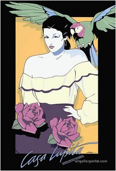 Patrick Nagel ~ Casa Lupita Serigraph Limited-edition art poster, woman with parrot Pop Art Illustration, Character Illustration, Illustration Pictures, Nagel Art, Patrick Nagel, Arte Pop, Retro Art, Sculpture, Artist Art