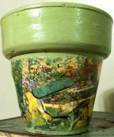 Terracotta Decoupage Pot Sweet Pea Green with by TazamarazDesign, $5.50 Terracotta, Decoupage, Planter Pots, Unique Jewelry, Handmade Gifts, Sweet, Etsy, Vintage, Kid Craft Gifts
