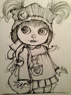 Coloring for adults-kleuren voor volwassenen Cartoon Pics, Cartoon Drawings, My Drawings, Pencil Drawings Of Girls, Fairy Drawings, Dark Art Illustrations, Illustration Art, Adult Coloring Pages, Coloring Books