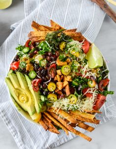 taco kale salad with crispy chili tortilla chips and chipotle lime ...