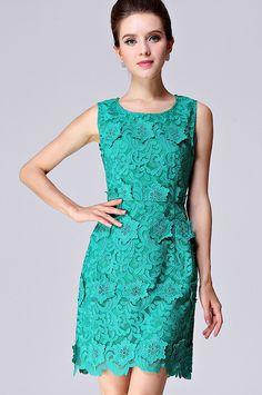 Green Sleeveless Applique Slim Lace Dress