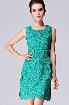 Sleeveless Applique Slim Lace Dress