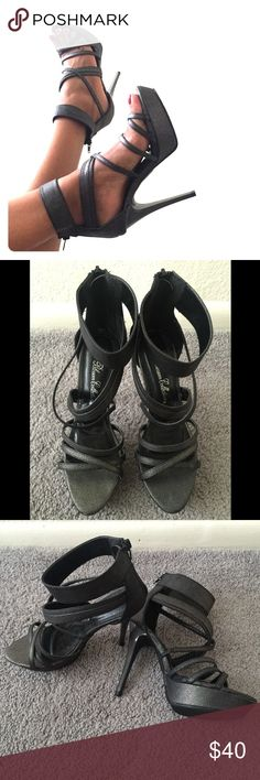 Metallic Gray Strappy Sandals These stiletto heeled gray metallic sandals are HAWT! They will definitely make a statement with a cute blouse and fitted skinny jeans or with a bangin' bodycon dress! True to size.  MAKE AN OFFER!😉 Shoes Heels