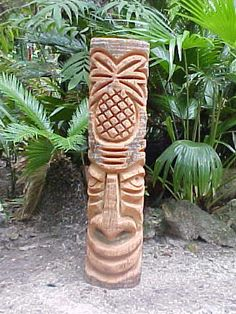 Hand Carved Hawaiian Polynesian Eater Island Tiki Statues, Tropical Oasis Lounge Exotica, Tiki Art , custom tikis available Tiki Man, Tiki Tiki, Tiki Pole, Tahiti, Florida Palm Trees, Tiki Bar Signs, Tiki Statues, Polynesian Art, Tiki Lounge