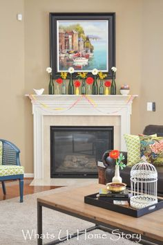 easy spring mantel with bottles as vases Fireplace Mantels, Mantle, Do It Yourself Projects, Paint Schemes, Furniture Plans, Vases, Family Room, Upholstery, Bottles
