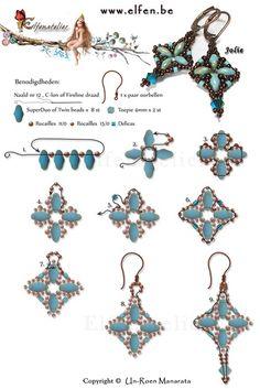 Gratis patronen | Elfenatelier Seed Bead Jewelry, Bead Jewellery, Seed Bead Earrings, Diy Earrings, Seed Beads, Pearl Jewelry, Crystal Jewelry, Diamond Jewelry, Antique Jewelry