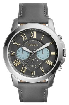 Free shipping and returns on Fossil 'Grant' Round Chronograph Leather Strap Watch, 44mm at Nordstrom.com. Aviation-inspired subdials and a clean, easy-to-read layout define the face of a sleek watch set on a grained leather strap—perfect for the man whose style hits the ideal blend of casual and cool.