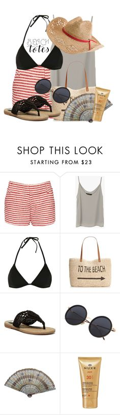 """""""In The Bag: Beach Totes"""" by deedee-pekarik ❤ liked on Polyvore featuring Alice + Olivia, Topshop, Style & Co., MIA, Nuxe, Quiksilver and beachtotes"""