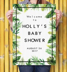 Greenery Baby Shower Welcome Sign Printable Personalized