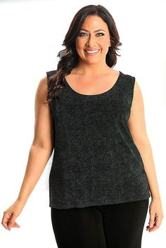 Vikki Vi Classic Northern Lights Sleeveless Shell A great plus size piece for your holiday party.