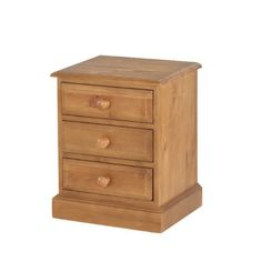 Country Solid Pine 3 Drawer Bedside Cabinet - Furniture