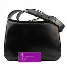 S.Ferragamo-Vintage-Bag Black Color Leather Good Condition Ref.code-(URRS-6) More Information Pls Email  (- luxuryvintagekl@ gmail.com )