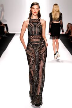 if i were a rich bitch: i would live in this J. Mendel SS14 black mesh maxi.