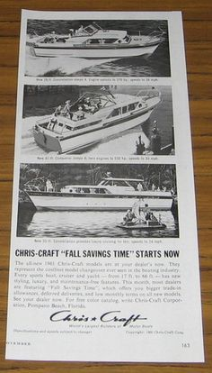 1960 Vintage Ad Chris-Craft Boats 55 Ft and 28 Ft Constellation,41 Ft Conqueror