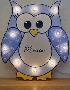 This article is not available Slumber light owl blue with name and personal data Sleep light slumber lamp gift birth baptism baby Owl Lamp, Owl Door, Light Chain, Baby Zimmer, Birth Gift, Kids Hands, Bath Toys, Different Light, Baby Kind
